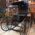 This is a photo of a horse-drawn Buggy that would be pulled by a horse and driven by a Doctor who would make house calls.