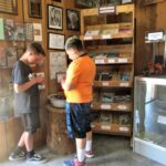 Photo of two young boys choosing rocks to buy.