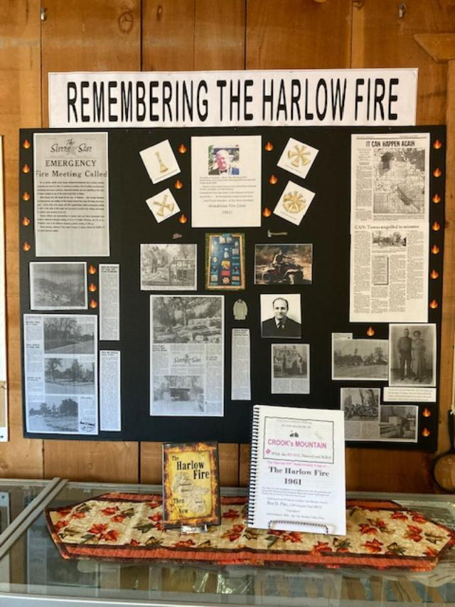This photo captures a new display at the Museum called Remembering The Harlow Fire. It includes newspaper clippings from the Sierra Star and photographs. Also included in the photo is a book that will be sold in the Gift Shop.